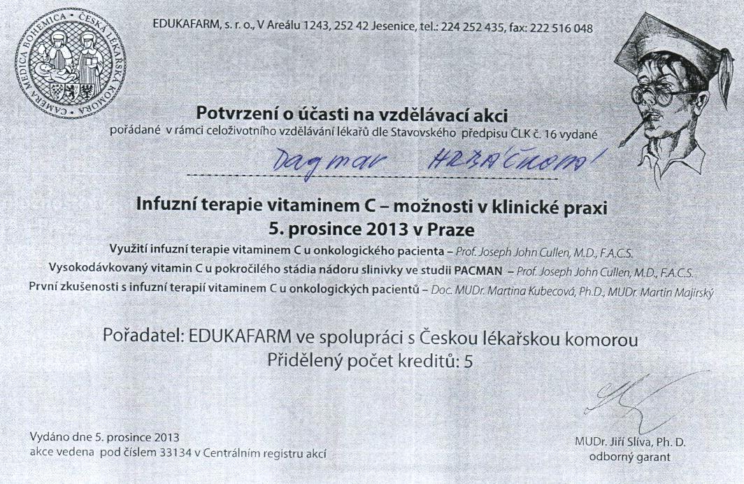 Certifikáty - Hrbáčková